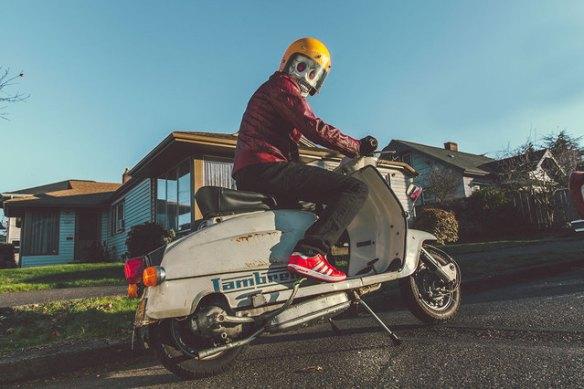 Frank Aberdean on a Lambretta