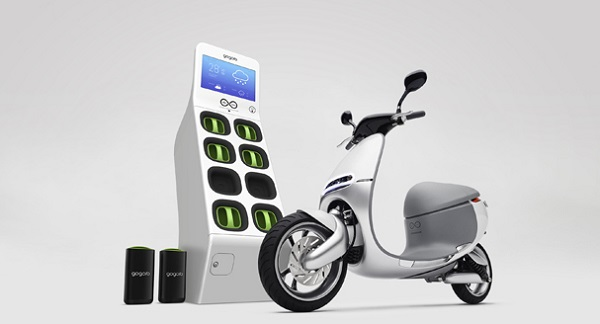 Gogoro electric scooter and battery kiosk