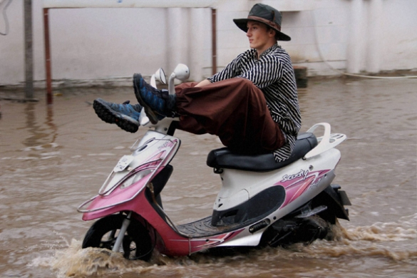 Image result for scooter in flood